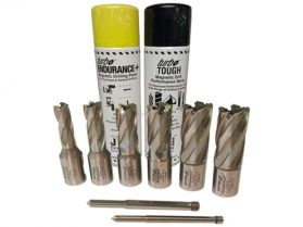 Rotabroach 8 Piece 25mm Short Reach Cutter Pack 12mm - 22mm with Spray Paste and Oil