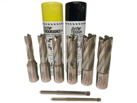 Rotabroach 8 Piece 50mm Long Reach Cutter Pack 12mm - 22mm with Spray Paste and Oil