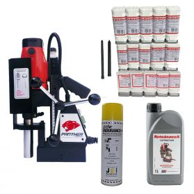 MagDrill Farming Kit 3 - Rotabroach Panther MagDrill, 17 Piece Rotabroach Cutter Kit & Lubricants