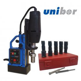 Unibor Performance MagDrill Kit 2 - Unibor E50 MagDrill, 7 Piece Unibor Blue Performance Cutter Kit